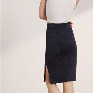 NEW! Aritzia Wilfred Free Lis Skirt In Black Suede